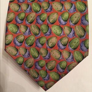 GUCCI Tie silk Italy orange green blue acorns